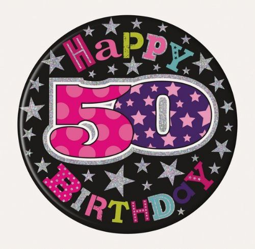 Badge 15cm Happy Birthday Age 50 Female